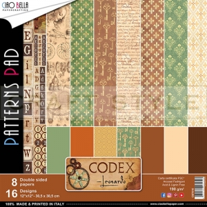 Codex Leonardo Collection - papier zestaw 8 arkuszy 30,5x30,5
