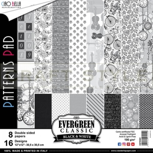 Evergreen Classic Black & White Collection - papier zestaw 8 arkuszy 30,5x30,5