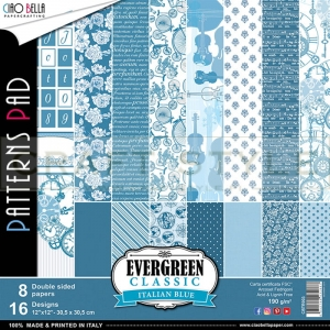 Evergreen Classic Italian Blue Collection - papier zestaw 8 arkuszy 30,5x30,5