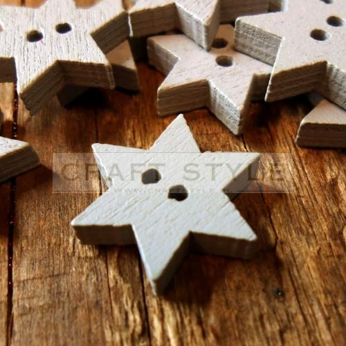 b454f21b378d9a GU-05 Guziki drewniane gwiazdki SZARE w Craft Style